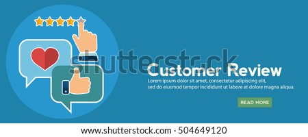 Business customer care service concept, rating on customer service and review flat.
