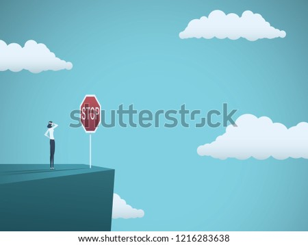 Business dangers for woman vector concept. Businesswoman standing on the edge of cliff with warning stop sign. Symbol of danger, failure, bankruptcy, recession and crisis. Eps10 vector illustration.