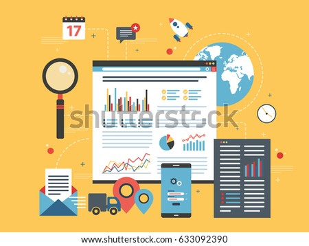 Business data and charts in the internet shop in flat design vector illustration. Concepts for business planning, project management, consulting, programming and market research.