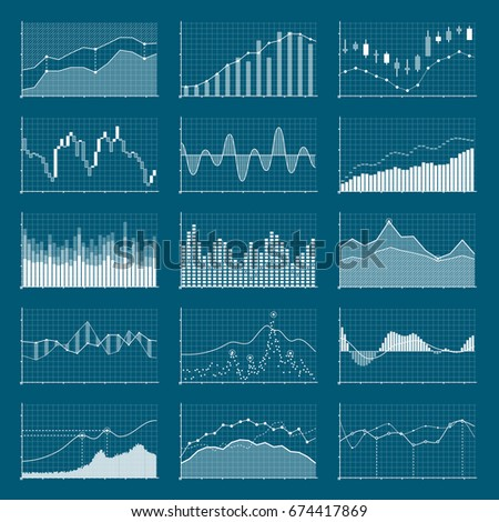 Business data financial charts. Stock analysis graphics. Growing and falling market graphs vector set. Collection of visualization finance chart and diagram information illustration