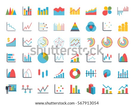 Business data market elements dot pie bar charts diagrams and graphs flat icons set. Statistic and data, information infographic. Isolated on a white background. Vector illustration.