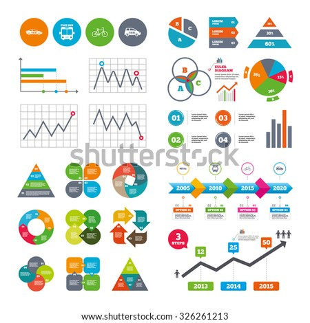 Business data pie charts graphs. Public transport icons. Free bus, bicycle and taxi signs. Car transport symbol. Market report presentation. Vector