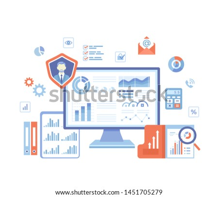Business Data Reporting, Consulting, Analytics, Credit report, Accounting. Graphs and charts on the monitor screen, documents, folders. Business banner. Vector illustration on white background.