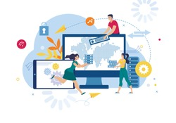 Business Data Security Exchange and Backup Service, Cloud Storage for Confidential Information Trendy Flat Vector Concept. People Sending Data to Cloud Service, Saving Database Online Illustration