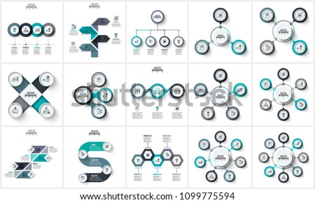 Business data visualization. Abstract elements of graph, diagram with 3, 4, 5, 6, 7 and 8 steps, options or parts. Vector business template for presentation. Creative concept for infographic.