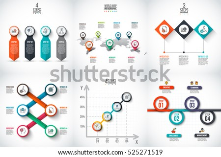 Business data visualization. Abstract elements of graph, diagram with 3, 4, 5, 6 and 7 steps, options, parts or processes. Vector business template for presentation. Creative concept for infographic.