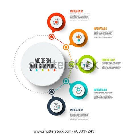 Business data visualization. Process chart. Abstract elements of graph, diagram with 5 steps, options, parts or processes. Vector business template for presentation. Creative concept for infographic. #603839243
