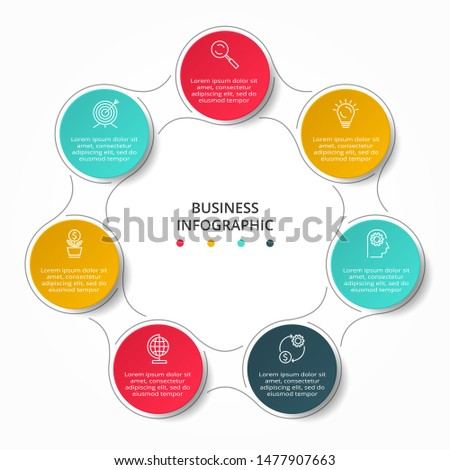 Business data visualization. Process chart. Elements of graph, diagram with 7 steps, options, parts or processes