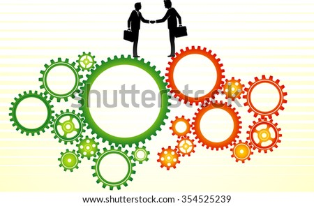 Business Deal Expansion-Conceptual illustration of businessmen come to an agreement, transaction, cooperation or employment.