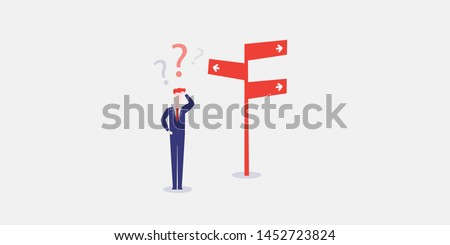 Business Decision Design Concept - Businessman Standing in Front of a Road Sign - Eps10 Vector Illustration