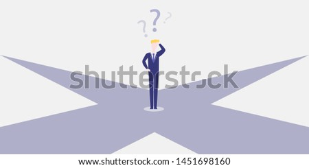 Business Decision Design Concept. Businessman Standing on the Crossroads - Eps10 Vector Illustration