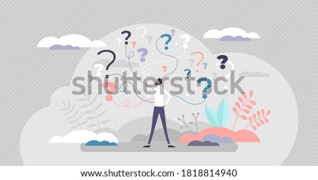 Business decision making doubt about options confusion tiny person concept. Choice about company work strategy vector illustration. Decide right solution directions for questions dilemma situations.