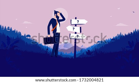 Business decision - Modern businessman standing in front of signpost showing different directions. Career uncertainty, choices, and unknown future concept. Vector illustration. Foto stock ©