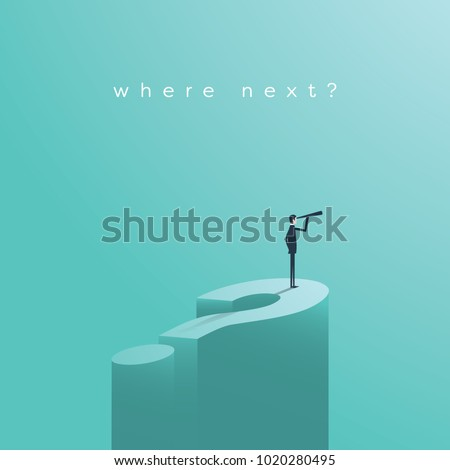 Business decision vector concept with businessman visionary standing on giant question mark. Symbol of business vision, objective, challenge, opportunity. Eps10 vector illustration.