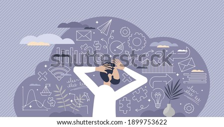 Business decisions mess and information data chaos as strategy confusion tiny person concept. Company leader lost focus about solutions and future plans for success and development vector illustration