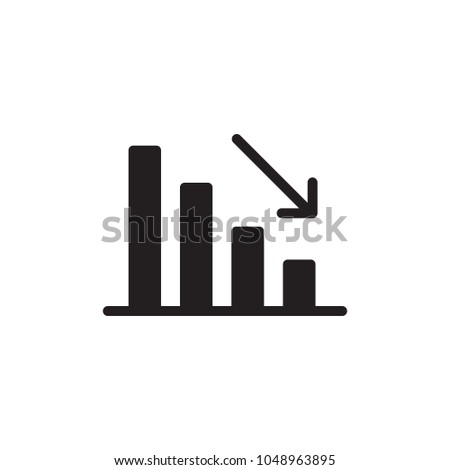 business decline chart filled vector icon. Modern simple isolated sign. Pixel perfect vector  illustration for logo, website, mobile app and other designs