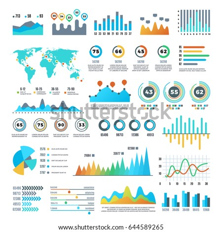 Business demographics and statistics infographic elements with colourful charts, diagrams and graph vector set