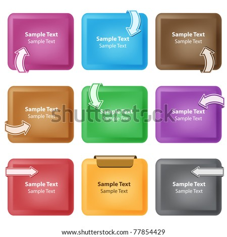 Business design elements. Curved arrows on bevelled boxes, assorted colors, copy space for text. Isolated on white. Raster also available.