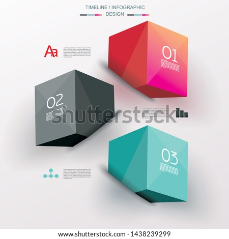 Business Design Template with bright 3d cubes. Can be used for step lines, number levels, timeline, diagram, web design.