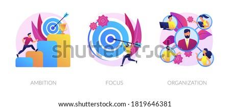 Business determination and development. Self improvement, marketing target, corporate management. Ambition, focus, organization metaphors. Vector isolated concept metaphor illustrations.