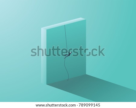 Business determination vector concept with businessman climbing over wall with rope. Symbol of ambition, motivation, career growth, success, strength. Eps10 vector illustration.