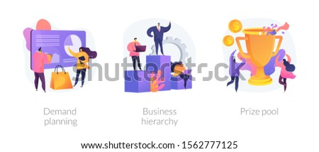 Business development and improvement flat icons set. Start up launching strategy. Demand planning, business hierarchy, prize pool metaphors. Vector isolated concept metaphor illustrations.