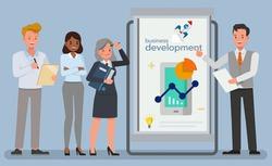 Business development concept. Business people character vector design.