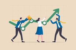 Business development process, plan or strategy to achieve success, teamwork and collaboration concept, business people help building or developing company growth graph with up rising arrow.