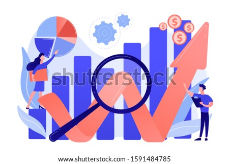 Business development strategy evaluation. Competitive analysis, strengths and weaknesses of your competition, company marketing plan concept. Pink coral blue vector isolated illustration