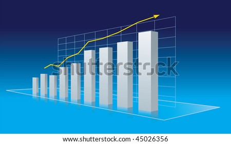 Business diagram - progress, growth trend. Vector Illustration