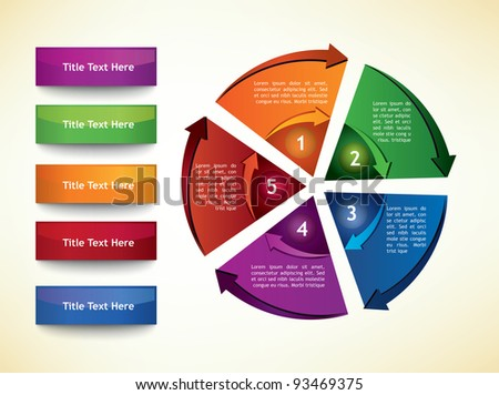 Business Diagram Template with arrows, five segments and title buttons