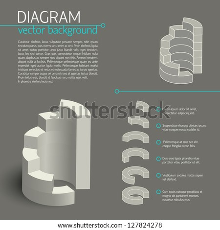 Business diagram template with text fields. Vector Illustration, eps10, contains transparencies.