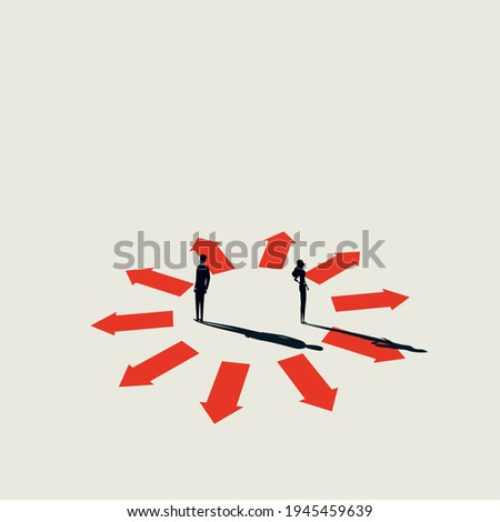 Business different opinion vector concept. Symbol of discussion, communication, decision. Minimal eps10 art illustration. Foto stock ©
