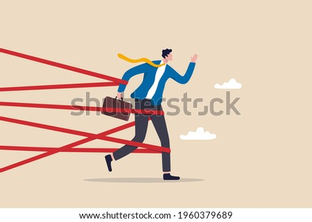 Business difficulty or struggle with career obstacle, limitation and trap or challenge to overcome to success concept, businessman tied up with red tape trying to run away with full effort. Foto stock ©
