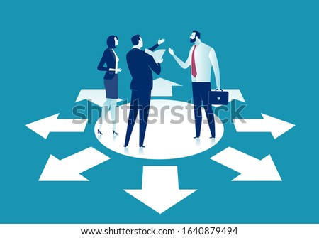 Business dilemma. The team discusses the right strategy. Concept vector illustration. Stock fotó ©