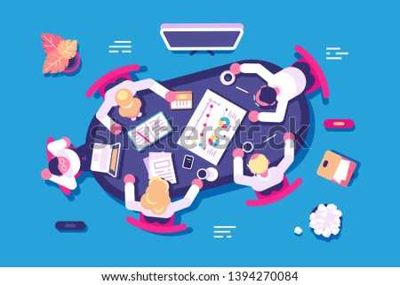 Business discussion in office vector illustration. Biz partners having meeting in conference room flat style concept. Corporate people discussing new project or startup