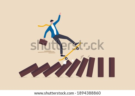 Business disruption, new disruptive innovation change, transform business and disrupt existing competitor company concept, smart innovative businessman surf fast skateboard hit all dominos collapse. Сток-фото ©