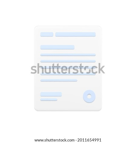 Business document 3d icon. White page with text lines and round stamp. Documentation with legal amendments. Signed financial form. State report with notices. Realistic isolated vector Foto stock ©