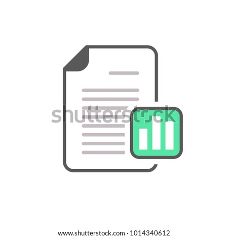 Business document file graph page stats icon. Vector icon
