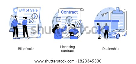 Business documents abstract concept vector illustration set. Bill of sale, licensing contract, dealership, intellectual property agreement, authorized dealer, electronic signature abstract metaphor.