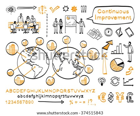 business doodle set vector