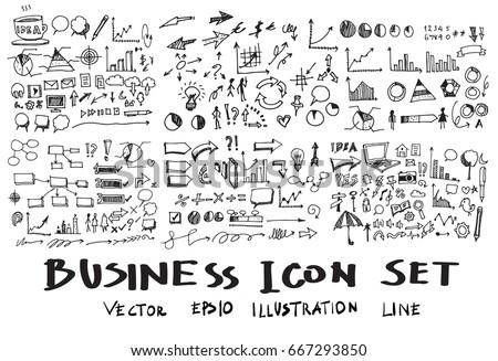 Business Doodle Sketch line vector set