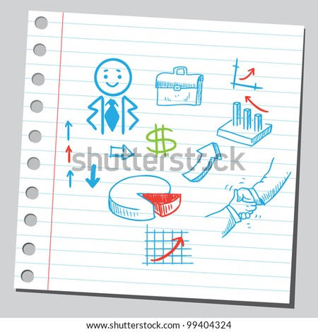 Business doodles - stock vector