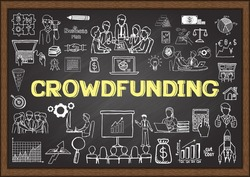 Business doodles about crowdfunding on chalkboard.