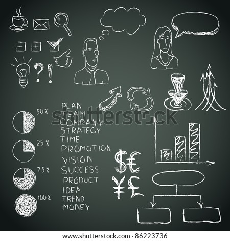 Business doodles on a blackboard. Vector illustration. - stock vector