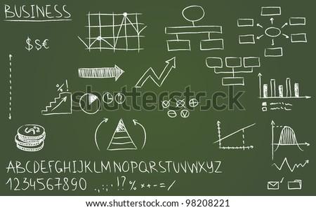 Business doodles on a blackboard. Vector illustration. - stock vector