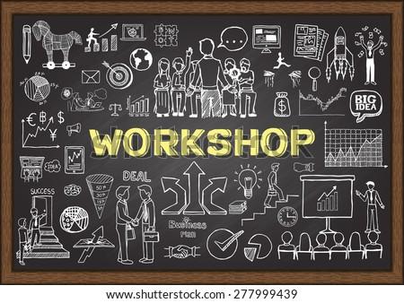 Business doodles on chalkboard with workshop concept. Hand drawn business plan on chalkboard.