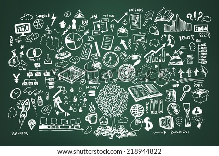 stock-vector-business-doodles-on-dark-green-or-school-board-background