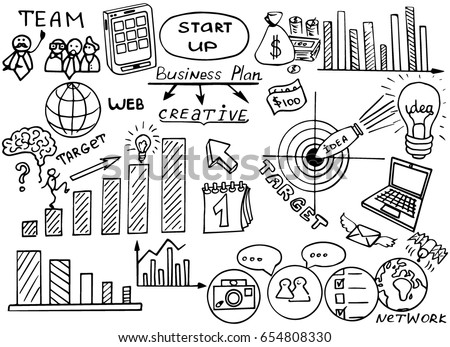 Business doodles Sketch set : infographics elements isolated, vector shapes. It include lots of icons included graphs, stats, devices, concepts. Vector doodle illustration.