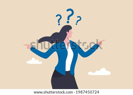 Business doubt choice, make decision on work direction, choose career path or option or alternative concept, doubtful businesswoman choosing choice and pointing her finger to left and right direction.